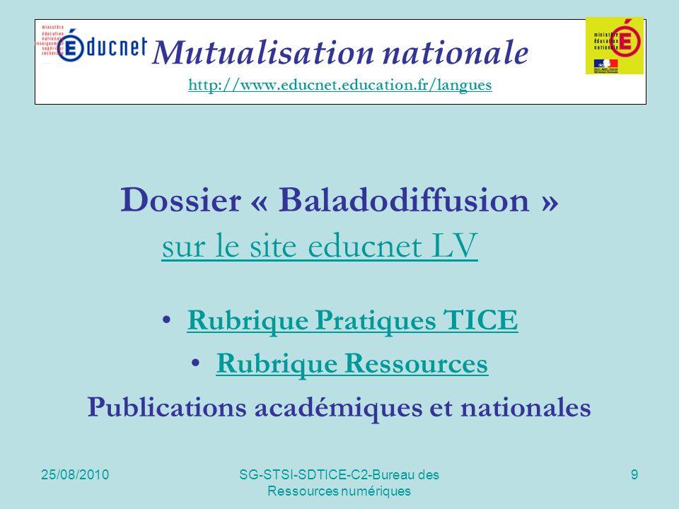 25/08/2010SG-STSI-SDTICE-C2-Bureau des Ressources numériques 9 Mutualisation nationale http://www.educnet.education.fr/langues http://www.educnet.educ