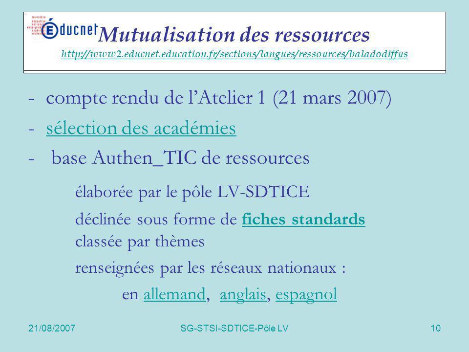 21/08/2007SG-STSI-SDTICE-Pôle LV10 Actions spécifiques -compte rendu de lAtelier 1 (21 mars 2007) - sélection des académiessélection des académies - b