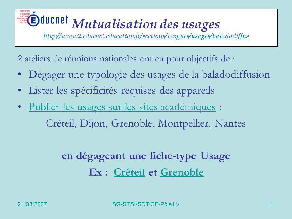 21/08/2007SG-STSI-SDTICE-Pôle LV11 Actions spécifiques 2 ateliers de réunions nationales ont eu pour objectifs de : Dégager une typologie des usages d