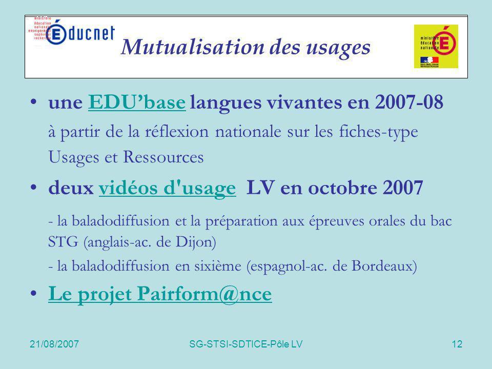 21/08/2007SG-STSI-SDTICE-Pôle LV12 Actions spécifiques une EDUbase langues vivantes en 2007-08EDUbase à partir de la réflexion nationale sur les fiche