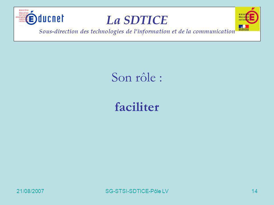 21/08/2007SG-STSI-SDTICE-Pôle LV14 La SDTICE Sous-direction des technologies de linformation et de la communication Son rôle : faciliter