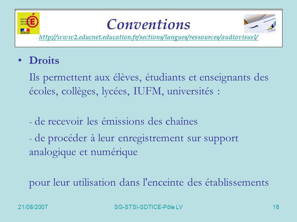 21/08/2007SG-STSI-SDTICE-Pôle LV16 Accords cadres Droits Ils permettent aux élèves, étudiants et enseignants des écoles, collèges, lycées, IUFM, unive