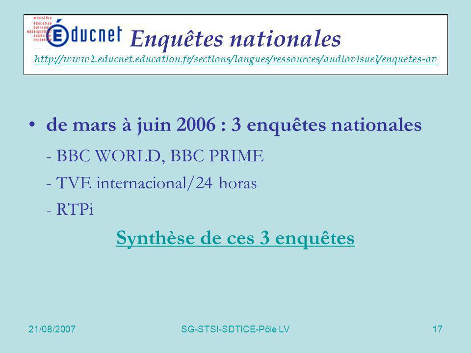 21/08/2007SG-STSI-SDTICE-Pôle LV17 Enquêtes nationales de mars à juin 2006 : 3 enquêtes nationales - BBC WORLD, BBC PRIME - TVE internacional/24 horas