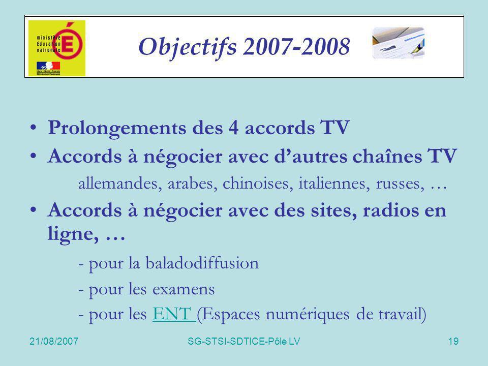 21/08/2007SG-STSI-SDTICE-Pôle LV19 Accords 2006-07 Prolongements des 4 accords TV Accords à négocier avec dautres chaînes TV allemandes, arabes, chino