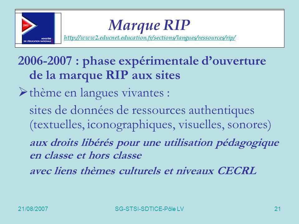 21/08/2007SG-STSI-SDTICE-Pôle LV21 RIP sites 2006-2007 : phase expérimentale douverture de la marque RIP aux sites thème en langues vivantes : sites d