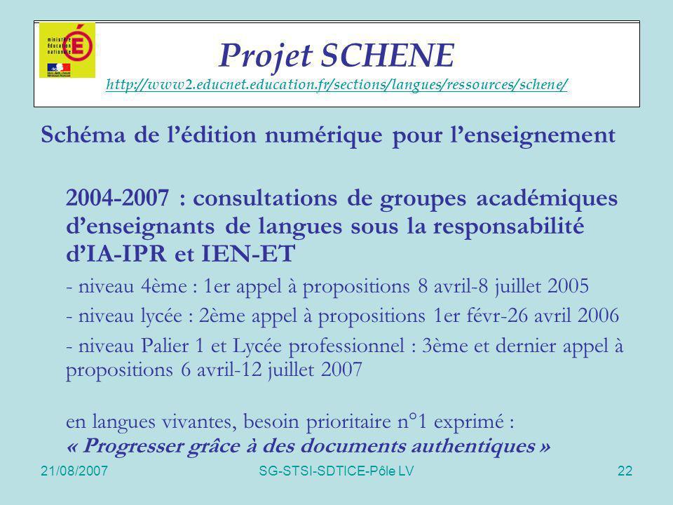 21/08/2007SG-STSI-SDTICE-Pôle LV22 Projet SCHENE Schéma de lédition numérique pour lenseignement 2004-2007 : consultations de groupes académiques dens