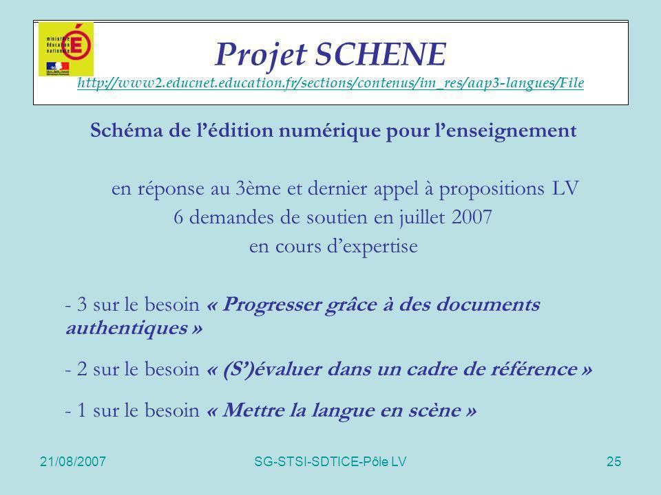 21/08/2007SG-STSI-SDTICE-Pôle LV25 Projet SCHENE Schéma de lédition numérique pour lenseignement en réponse au 3ème et dernier appel à propositions LV