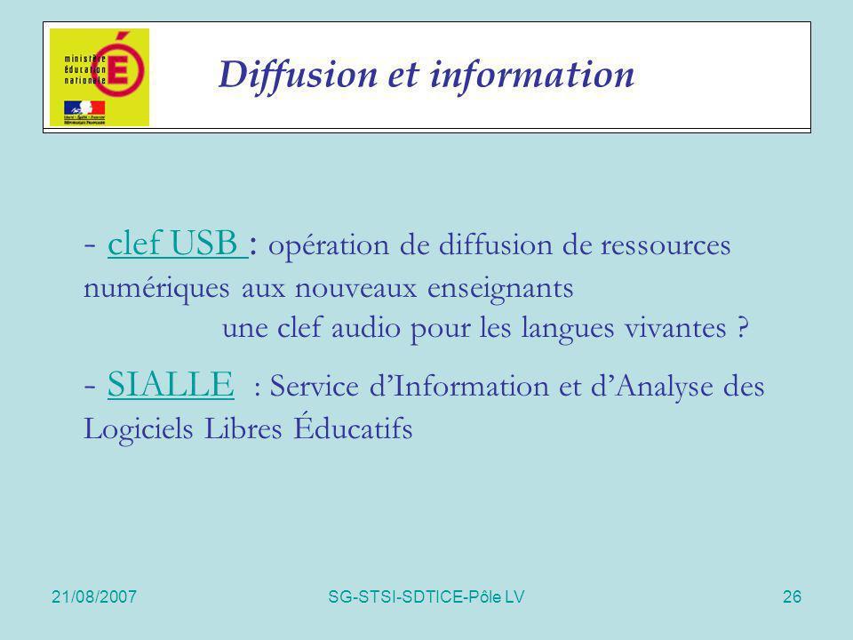 21/08/2007SG-STSI-SDTICE-Pôle LV26 Actions spécifiques - clef USB : opération de diffusion de ressources numériques aux nouveaux enseignants une clef