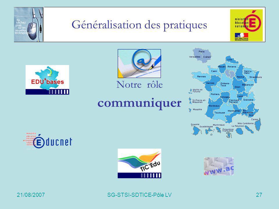 21/08/2007SG-STSI-SDTICE-Pôle LV27 Généralisation des pratiques Notre rôle communiquer