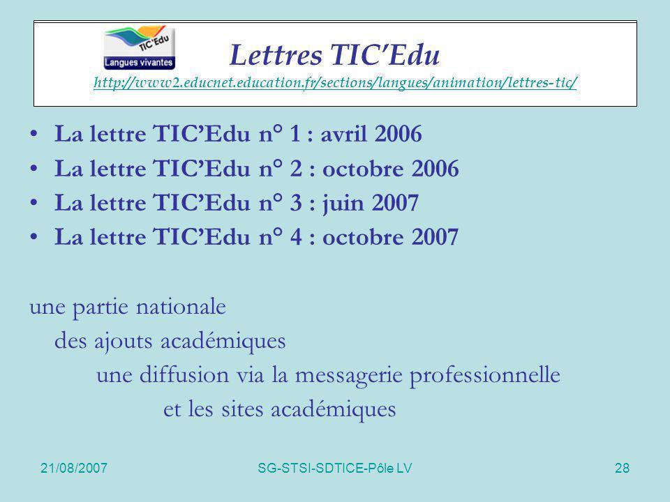 21/08/2007SG-STSI-SDTICE-Pôle LV28 Lettres TICEdu La lettre TICEdu n° 1 : avril 2006 La lettre TICEdu n° 2 : octobre 2006 La lettre TICEdu n° 3 : juin