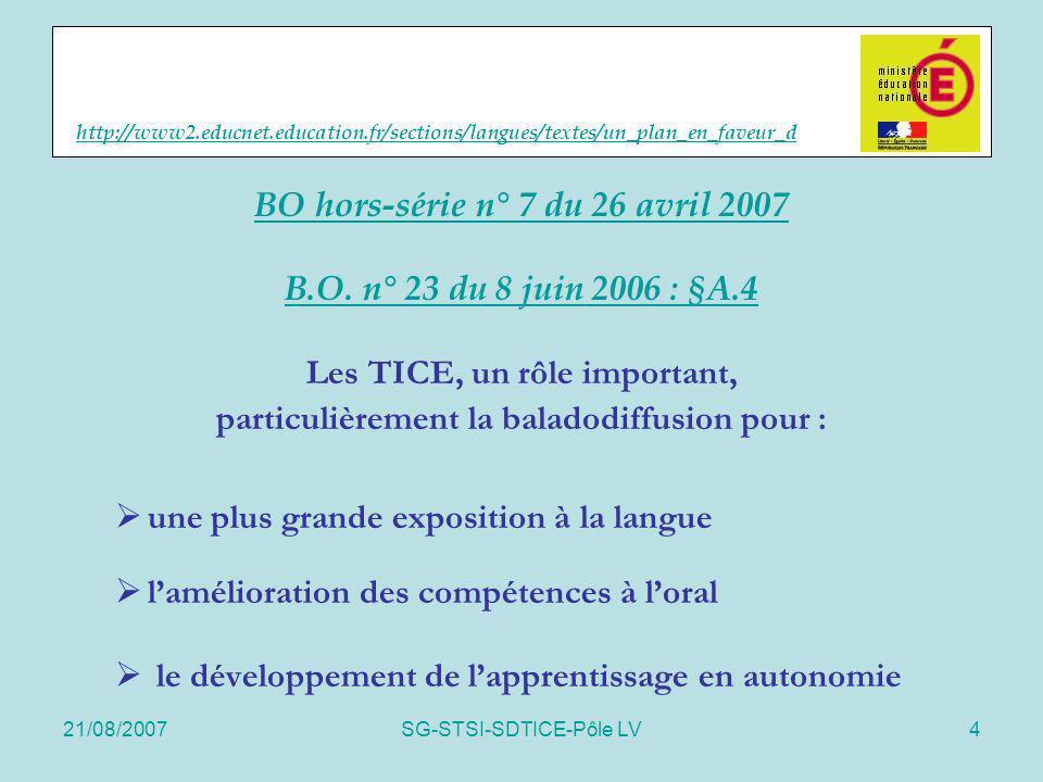 21/08/2007SG-STSI-SDTICE-Pôle LV4 http://www2.educnet.education.fr/sections/langues/textes/un_plan_en_faveur_d BO hors-série n° 7 du 26 avril 2007 B.O