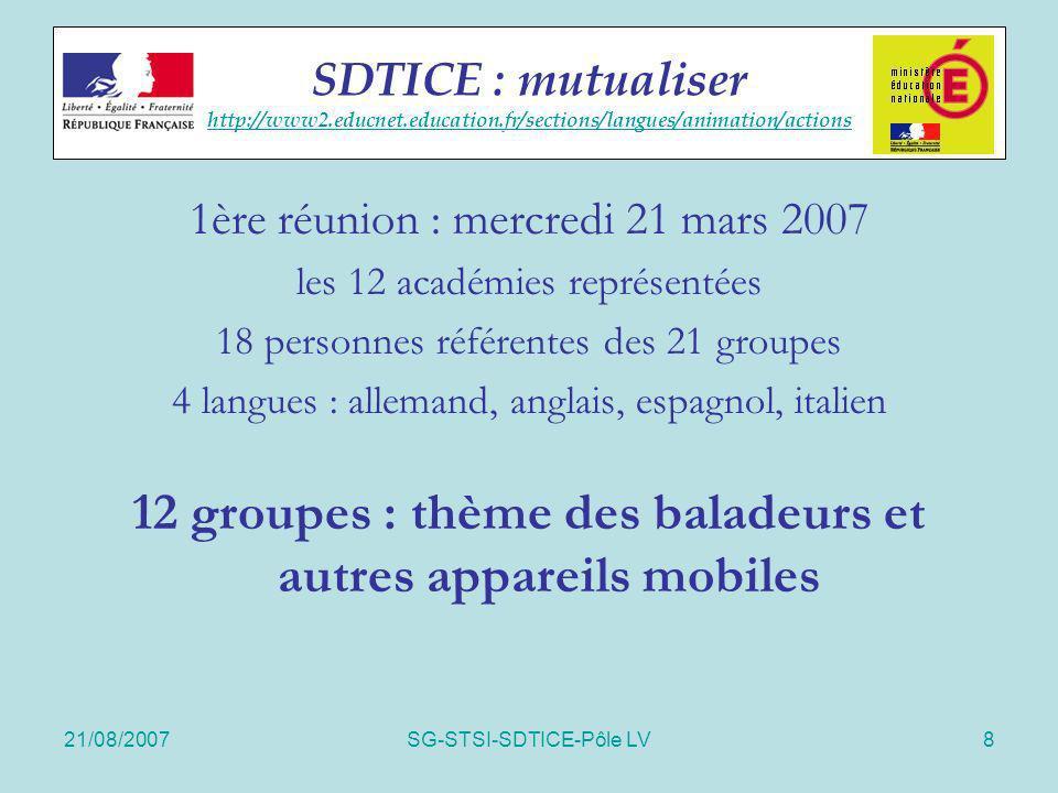 21/08/2007SG-STSI-SDTICE-Pôle LV29 Educnet langues Merci pour votre attention anik.monoury@education.gouv.fr Educnet langues http://www2.educnet.education.fr/sections/langues http://www2.educnet.education.fr/sections/langues