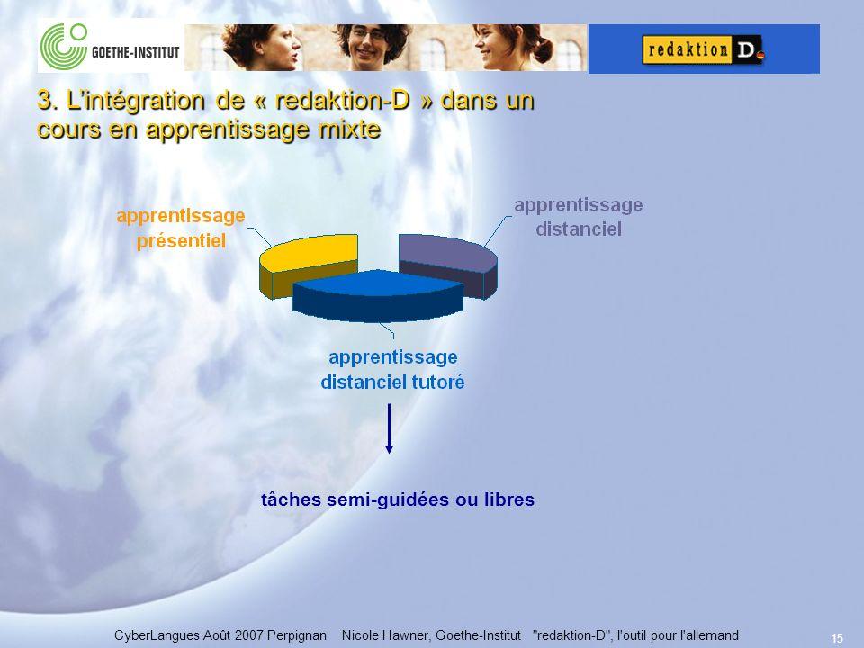 15 CyberLangues Août 2007 Perpignan Nicole Hawner, Goethe-Institut redaktion-D , l outil pour l allemand 3.
