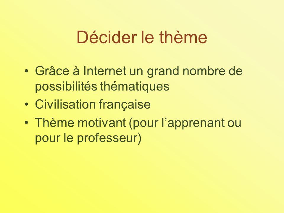 Décider le thème Grâce à Internet un grand nombre de possibilités thématiques Civilisation française Thème motivant (pour lapprenant ou pour le professeur)
