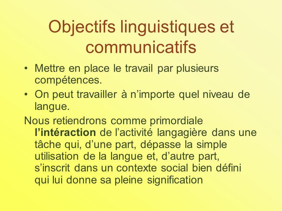 Objectifs linguistiques et communicatifs Mettre en place le travail par plusieurs compétences.