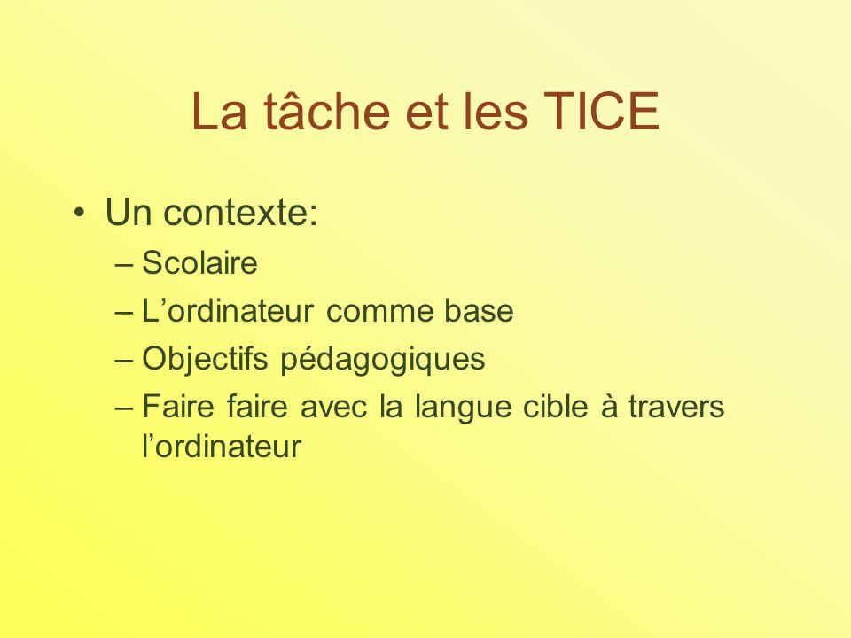 La tâche et les TICE Un contexte: –Scolaire –Lordinateur comme base –Objectifs pédagogiques –Faire faire avec la langue cible à travers lordinateur