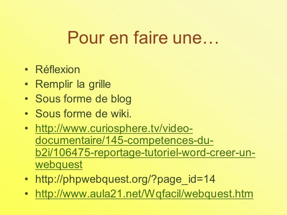 Pour en faire une… Réflexion Remplir la grille Sous forme de blog Sous forme de wiki.