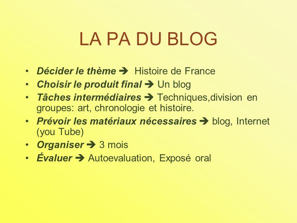 LA PA DU BLOG Décider le thème Histoire de France Choisir le produit final Un blog Tâches intermédiaires Techniques,division en groupes: art, chronologie et histoire.