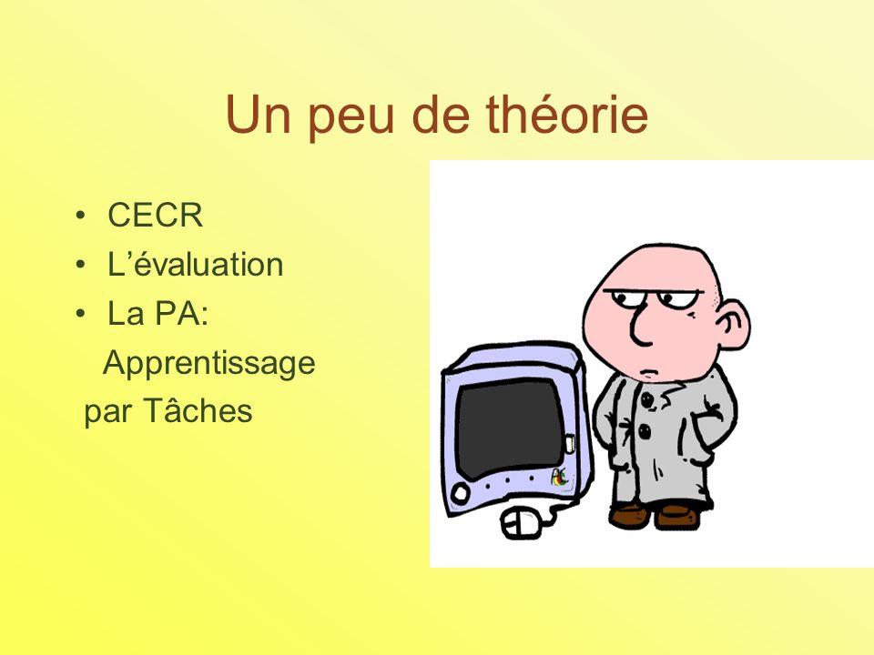 Un peu de théorie CECR Lévaluation La PA: Apprentissage par Tâches