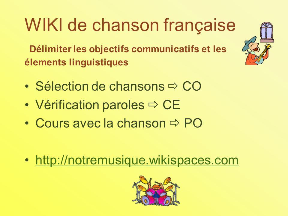 WIKI de chanson française Délimiter les objectifs communicatifs et les élements linguistiques Sélection de chansons CO Vérification paroles CE Cours avec la chanson PO http://notremusique.wikispaces.com