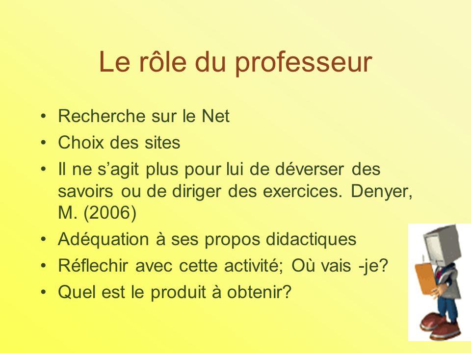 Le rôle du professeur Recherche sur le Net Choix des sites Il ne sagit plus pour lui de déverser des savoirs ou de diriger des exercices.