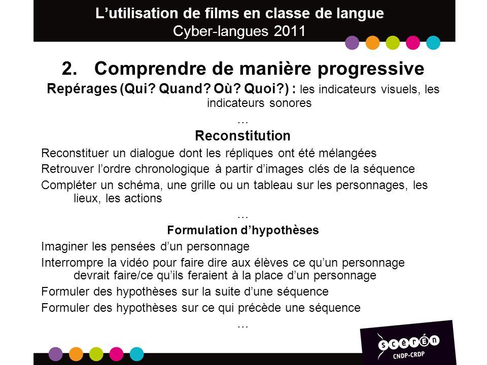 Lutilisation de films en classe de langue Cyber-langues 2011 2.Comprendre de manière progressive Repérages (Qui.