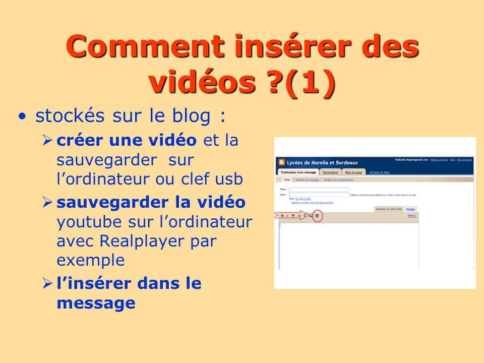 Comment insérer des vidéos ?(1) stockés sur le blog : créer une vidéo et la sauvegarder sur lordinateur ou clef usb sauvegarder la vidéo youtube sur l