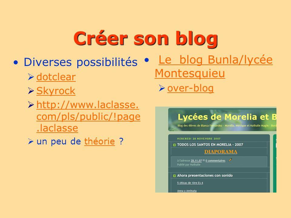 Créer son blog Le blog Bunla/lycée MontesquieuLe blog Bunla/lycée Montesquieu over-blog Diverses possibilités dotclear Skyrock http://www.laclasse. co