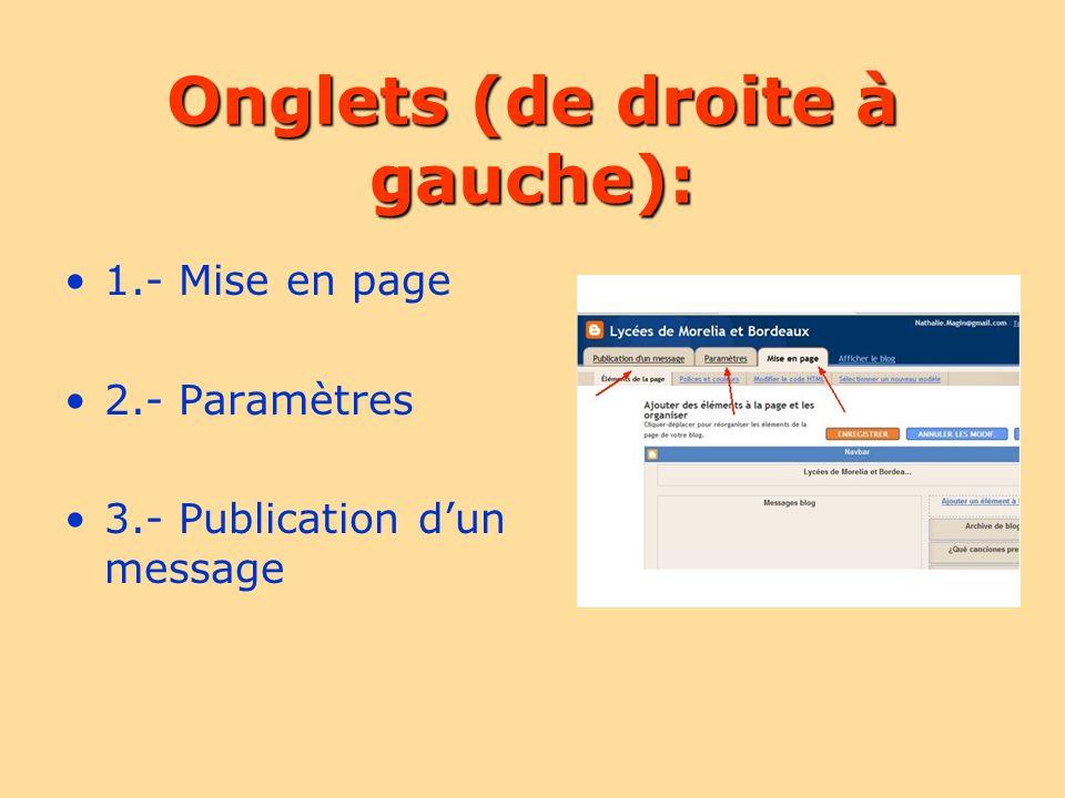 Onglets (de droite à gauche): 1.- Mise en page 2.- Paramètres 3.- Publication dun message