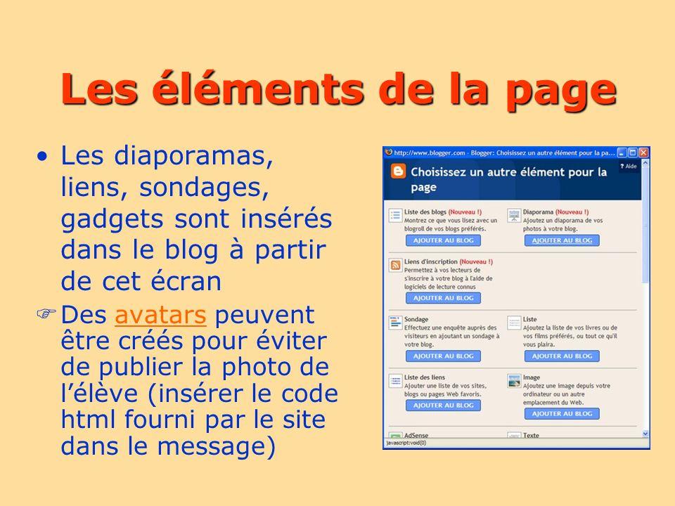 Les éléments de la page Les diaporamas, liens, sondages, gadgets sont insérés dans le blog à partir de cet écran Des avatars peuvent être créés pour éviter de publier la photo de lélève (insérer le code html fourni par le site dans le message)avatars