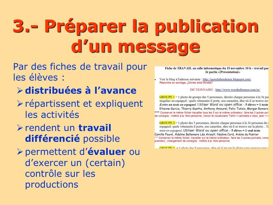 Les messages (1) Leur contenu est décidé par les profs est rédigé à lavance par les élèves en français et/ou en espagnol est copié, collé, corrigé (ou pas) par le professeur