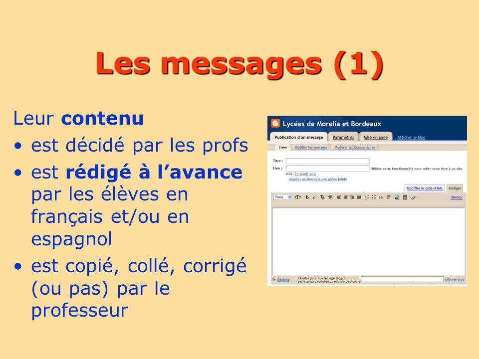 Les messages (1) Leur contenu est décidé par les profs est rédigé à lavance par les élèves en français et/ou en espagnol est copié, collé, corrigé (ou