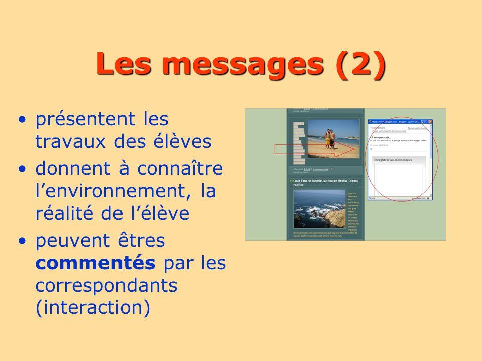 Les messages (2) présentent les travaux des élèves donnent à connaître lenvironnement, la réalité de lélève peuvent êtres commentés par les correspondants (interaction)