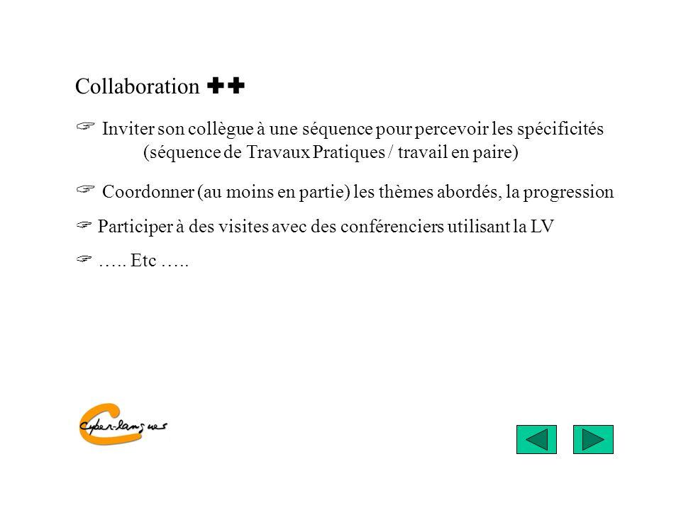 Collaboration Inviter son collègue à une séquence pour percevoir les spécificités (séquence de Travaux Pratiques / travail en paire) Coordonner (au mo