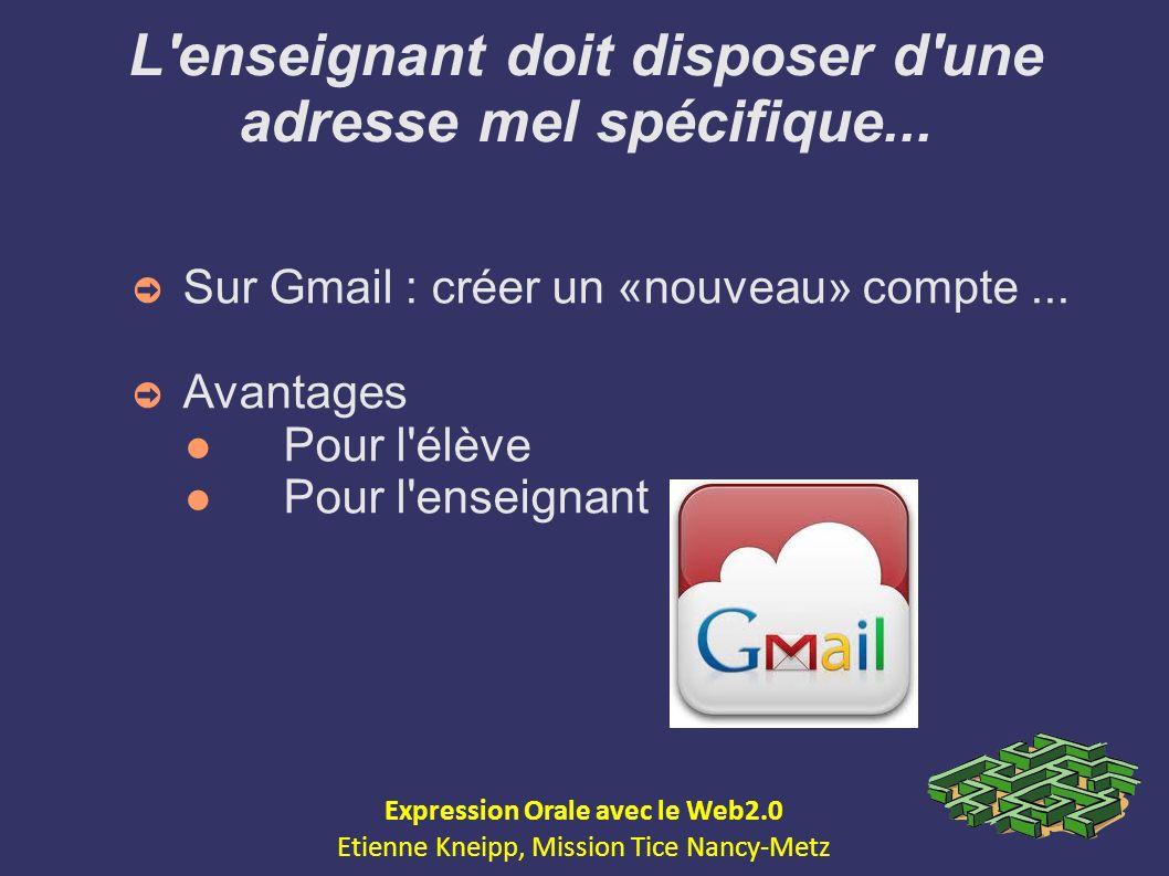 L'enseignant doit disposer d'une adresse mel spécifique... Sur Gmail : créer un «nouveau» compte... Avantages Pour l'élève Pour l'enseignant Expressio