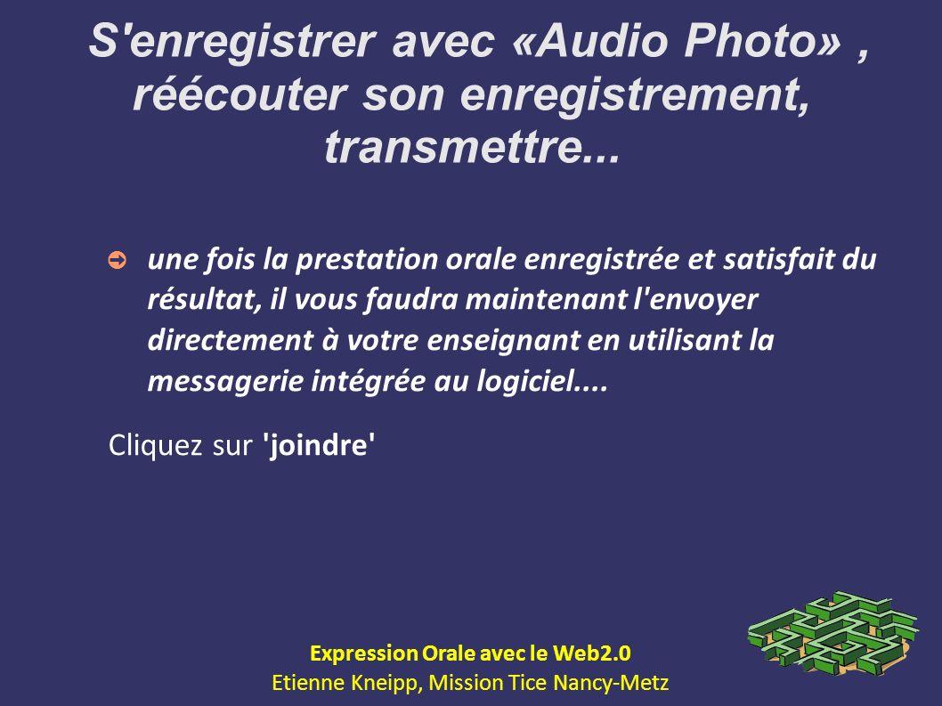 S'enregistrer avec «Audio Photo», réécouter son enregistrement, transmettre... une fois la prestation orale enregistrée et satisfait du résultat, il v