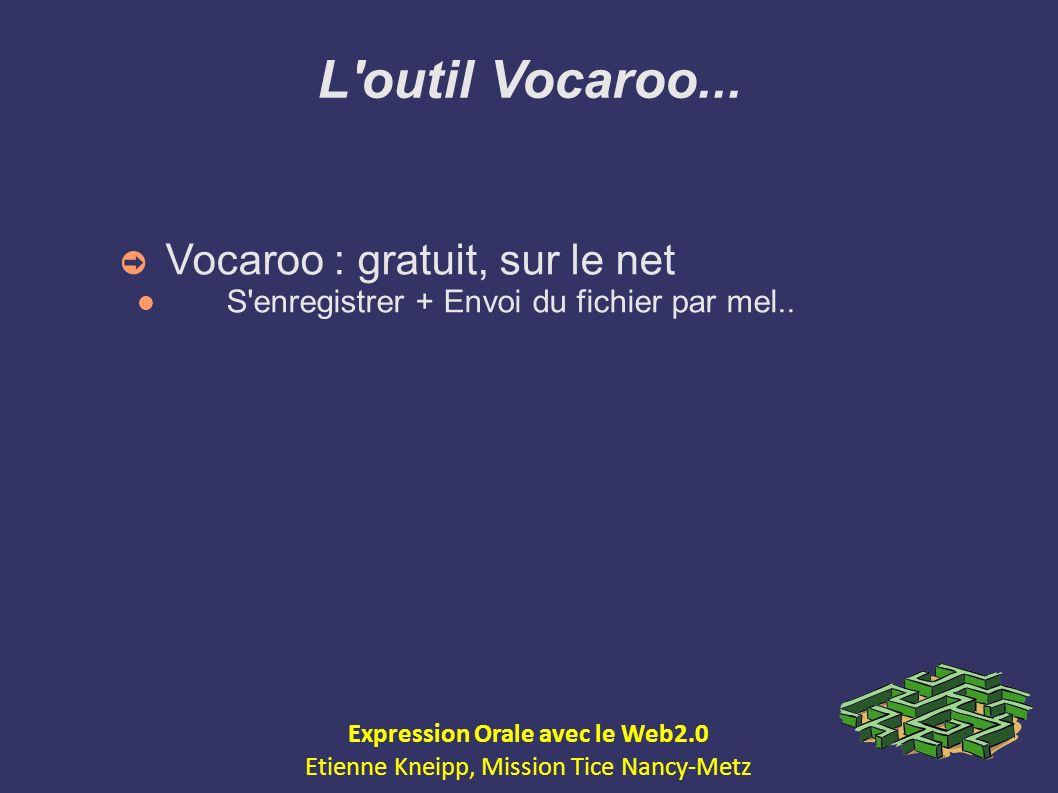 L'outil Vocaroo... Vocaroo : gratuit, sur le net S'enregistrer + Envoi du fichier par mel.. Expression Orale avec le Web2.0 Etienne Kneipp, Mission Ti