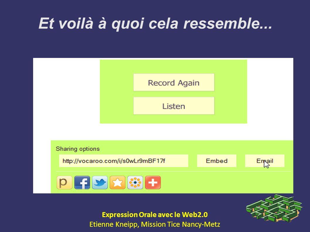 Et voilà à quoi cela ressemble... Expression Orale avec le Web2.0 Etienne Kneipp, Mission Tice Nancy-Metz