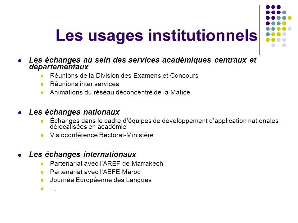 Les usages institutionnels Les échanges au sein des services académiques centraux et départementaux Réunions de la Division des Examens et Concours Ré