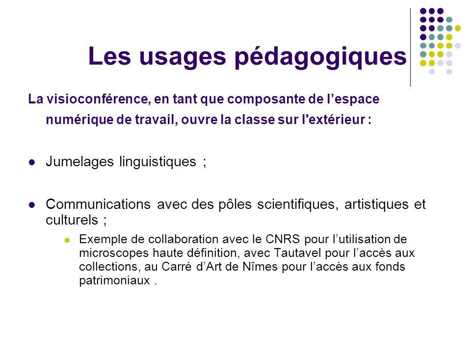 Les usages pédagogiques La visioconférence, en tant que composante de lespace numérique de travail, ouvre la classe sur l'extérieur : Jumelages lingui