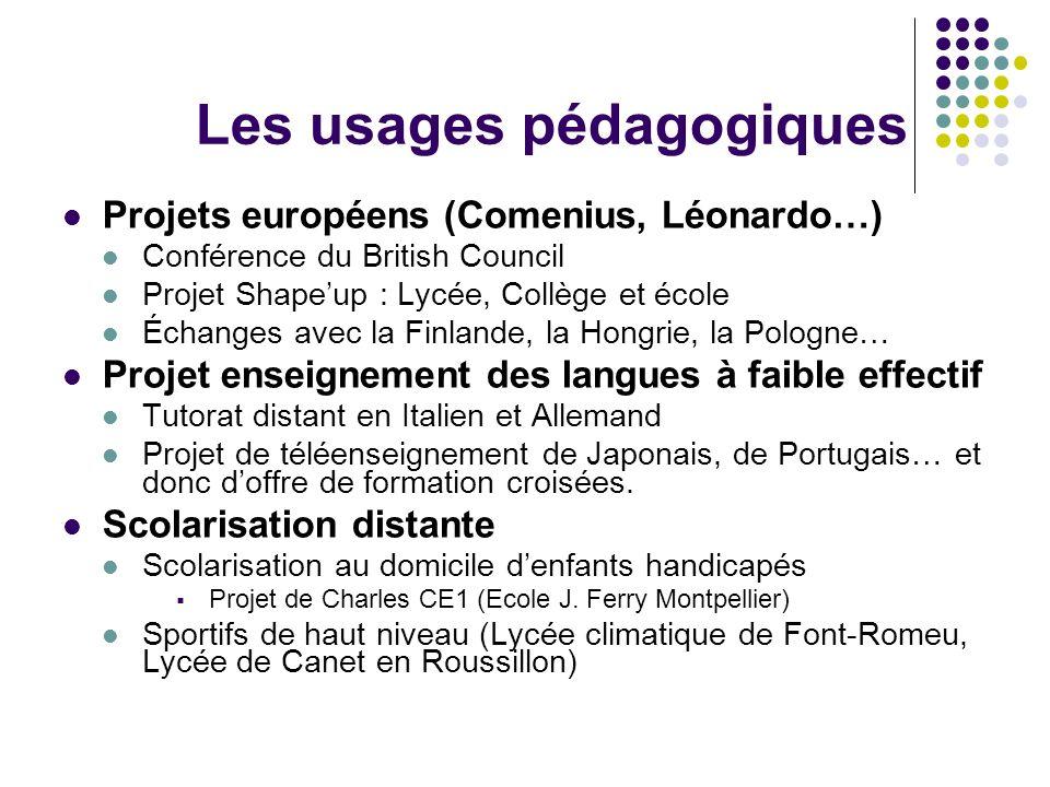Les usages pédagogiques Projets européens (Comenius, Léonardo…) Conférence du British Council Projet Shapeup : Lycée, Collège et école Échanges avec l