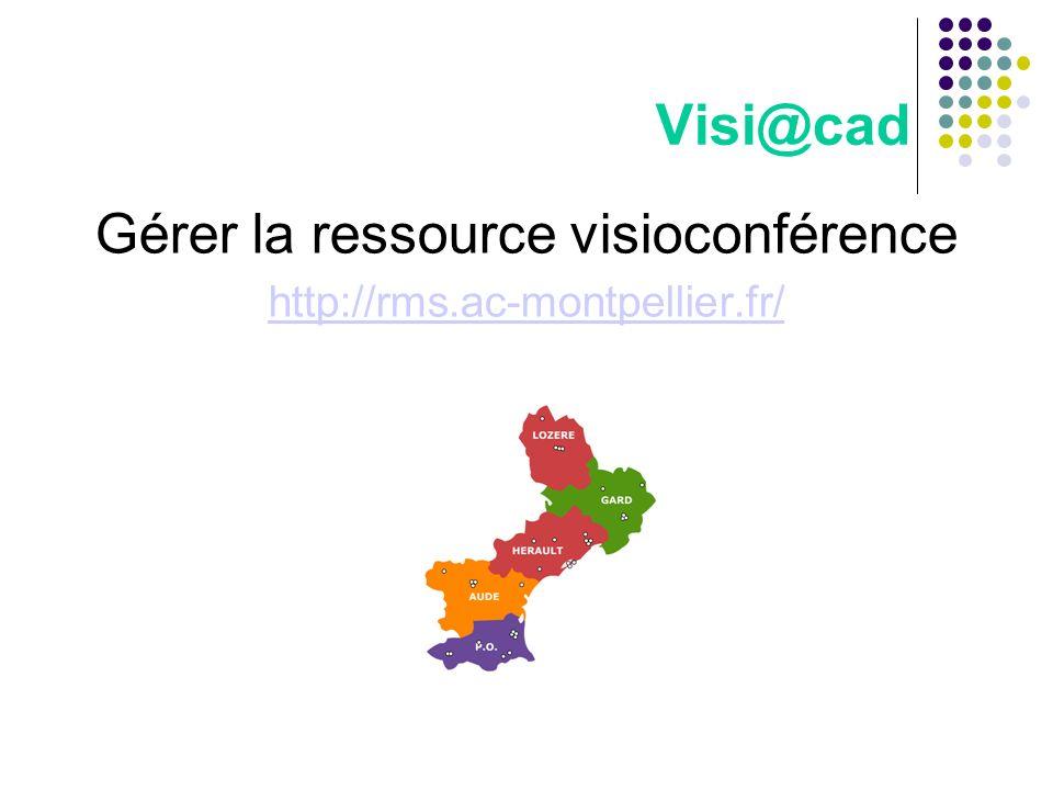 Visi@cad Gérer la ressource visioconférence http://rms.ac-montpellier.fr/