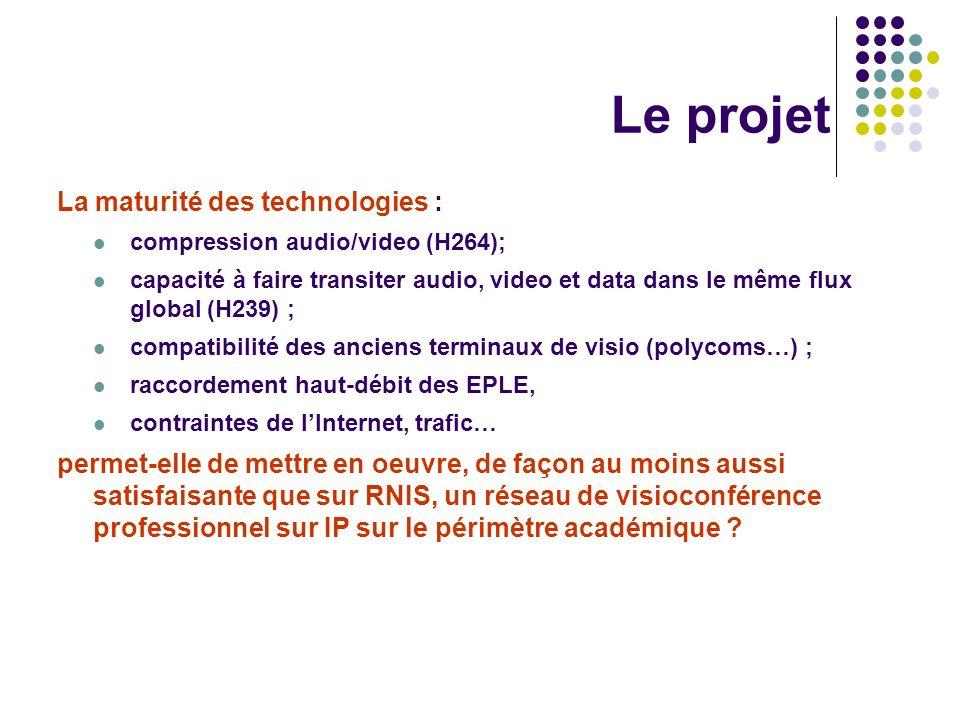 Le projet La maturité des technologies : compression audio/video (H264); capacité à faire transiter audio, video et data dans le même flux global (H23