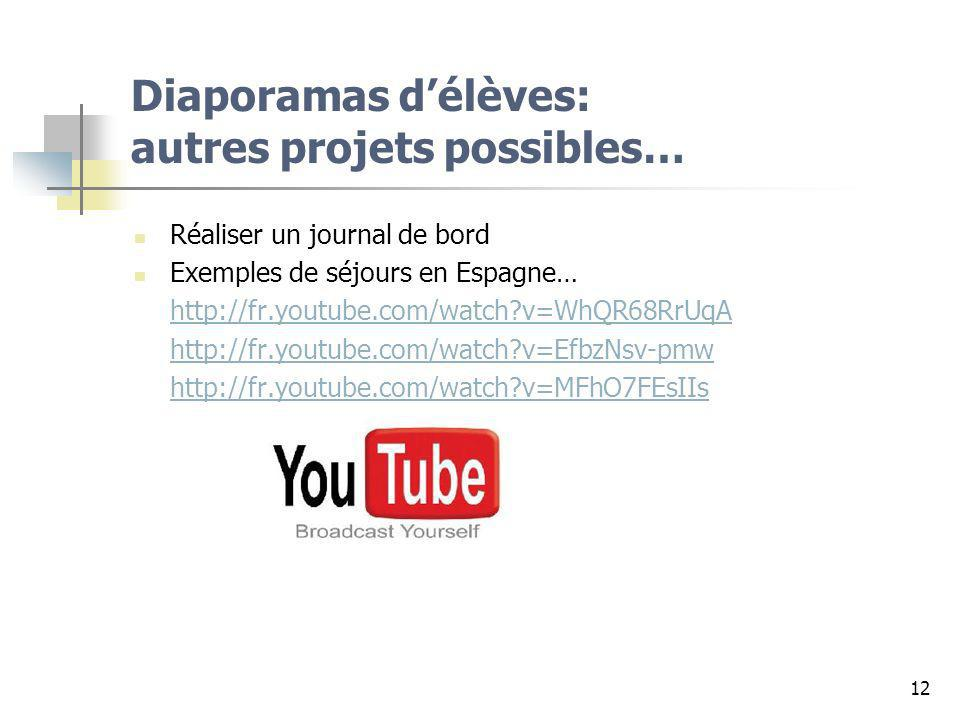 12 Diaporamas délèves: autres projets possibles… Réaliser un journal de bord Exemples de séjours en Espagne… http://fr.youtube.com/watch?v=WhQR68RrUqA