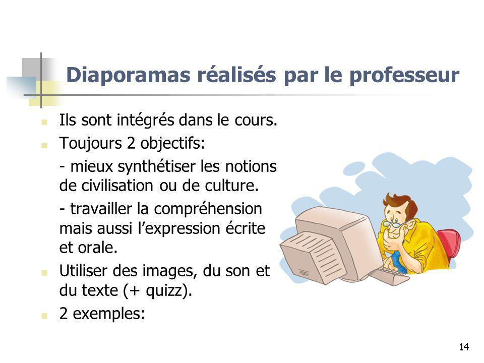 14 Diaporamas réalisés par le professeur Ils sont intégrés dans le cours. Toujours 2 objectifs: - mieux synthétiser les notions de civilisation ou de