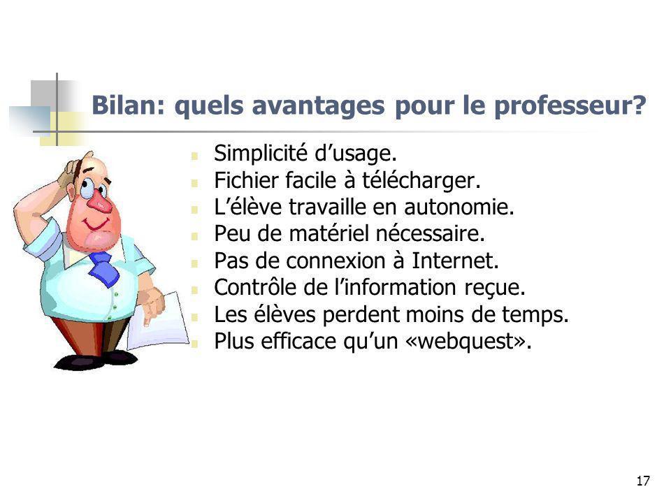 17 Bilan: quels avantages pour le professeur? Simplicité dusage. Fichier facile à télécharger. Lélève travaille en autonomie. Peu de matériel nécessai