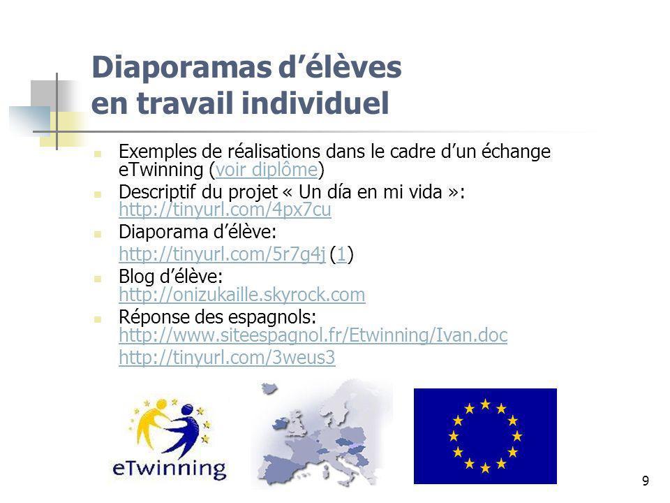 9 Diaporamas délèves en travail individuel Exemples de réalisations dans le cadre dun échange eTwinning (voir diplôme)voir diplôme Descriptif du proje
