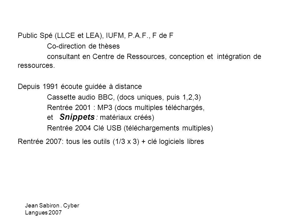 Jean Sabiron.Cyber Langues 2007 …..