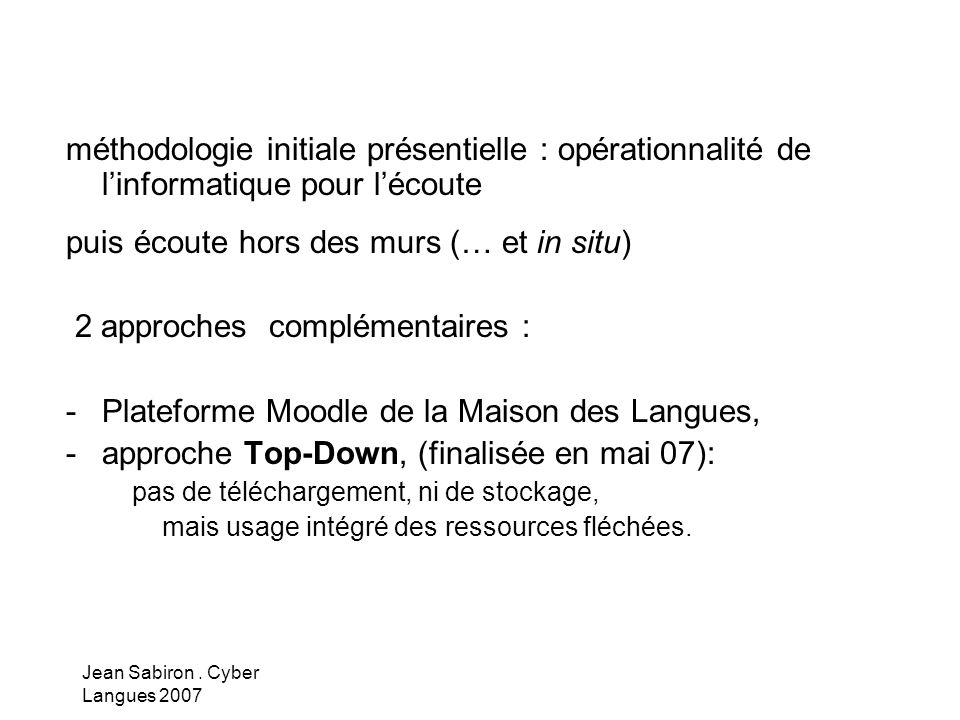 Jean Sabiron. Cyber Langues 2007