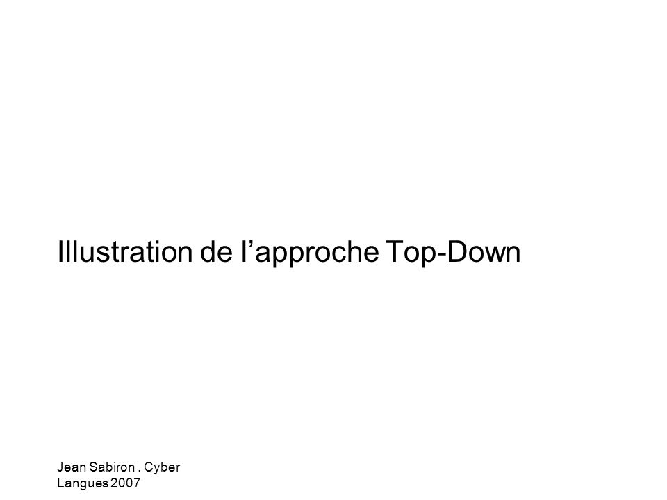 Jean Sabiron. Cyber Langues 2007 Illustration de lapproche Top-Down